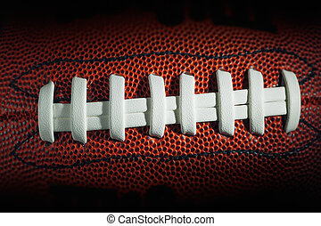 American football laces and texture, macro view