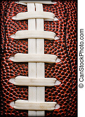 American Football Laces Closeup