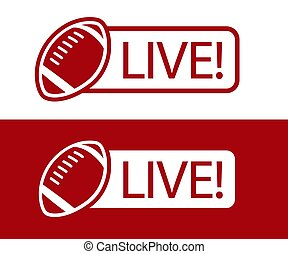 American football LIVE broadcast icon vector illustration
