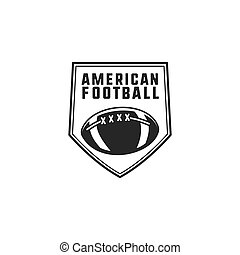 American football logo emblem. USA sports badge in silhouette style. Monochrome logotype design with ball. Stock vector insignia isolated on white background