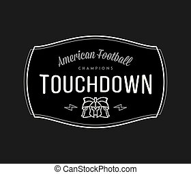 American Football modern badge white on black