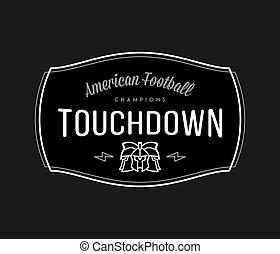 American Football modern badge white on black