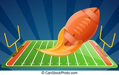 American football modern equipment concept banner, cartoon style