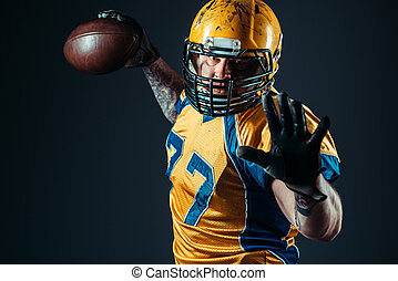 American football offensive player with ball
