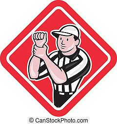 Illustration of an american football official referee with hand signal signalling illegal use of hands facing front set inside diamond shape done in cartoon style.