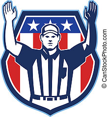 Illustration of an american football official referee with hand pointing up for a touchdown facing front set inside crest shield with stars and stripes flag done in retro style.