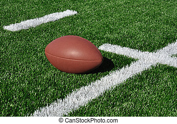 American Football on Artificial Turf - Football near Hash...