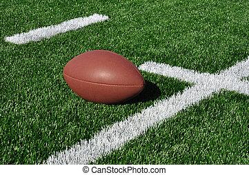 American Football on Artificial Turf - Football near Hash...