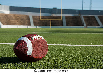 American football on field with goal post in background.