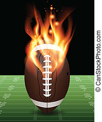 A flaming american football on field. Vector EPS 10 available. Vector contains transparencies and gradient mesh.