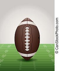 American Football on Grass Field Illustration - An...