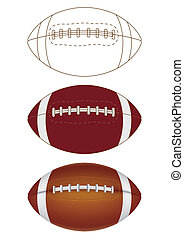 american football on white background