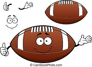 American football or rugby ball cartoon character depicting...