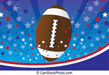 american football over blue and red background. vector...