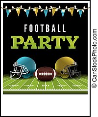 American Football Party Flyer Illustration