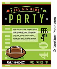 American Football Party Flyer Template Illustration