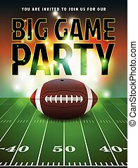 American football party invitation illustration. Vector EPS 10 available. Text has been converted to outlines in the vector file.