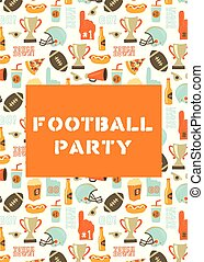 American Football party invitation card. Helmet, trophy, beer, foam finger, fast food, go and touch down lettering background. Vintage style vector design for tailgate party, super bowl, flyer, decor
