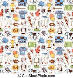American football pattern vector illustration - Seamless...