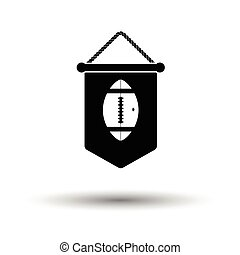 American football pennant icon. White background with shadow...