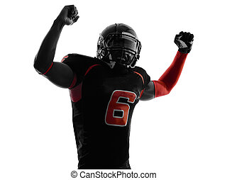 american football player arms raised portrait silhouette -...