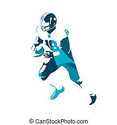 American football player, blue vector illustration