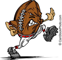 Cartoon Image of a Football as an American Football Running Back