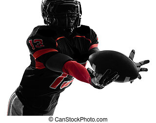 american football player catching ball silhouette - one...