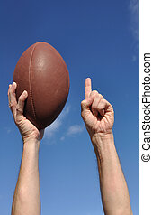 American Football Player Celebrates a Touchdown
