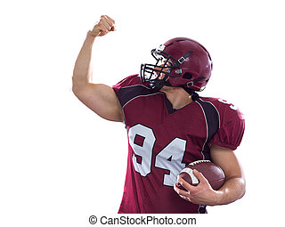 american football player celebrating touchdown