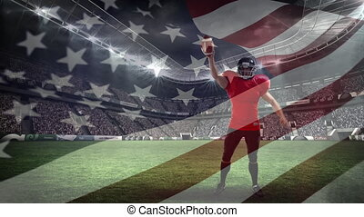 American football player celecheering