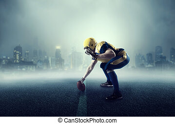 American football player, cityscape on background