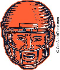 American Football Player Head Etching