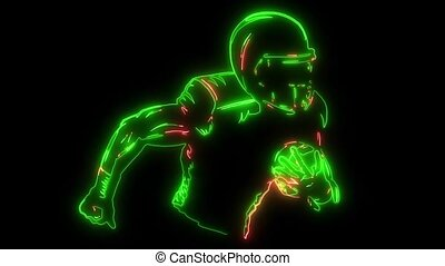 American football player holding ball silhouette