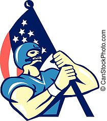 American Football Player Holding Flag Retro
