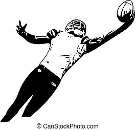American football player illustration with abstract...