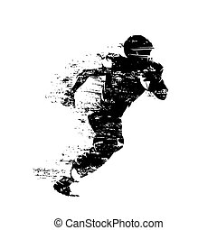 American football player, isolated grunge vector silhouette