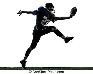 american football player man scoring touchdown silhouette