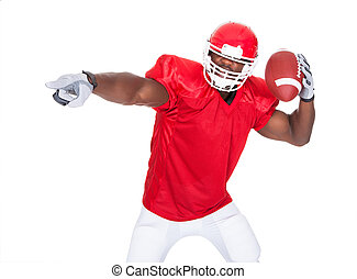 American Football Player Pointing Something