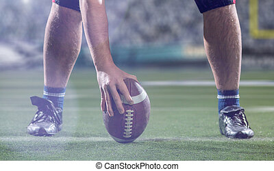 American football player preparing to start the football game