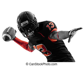 american football player quarterback passing portrait...