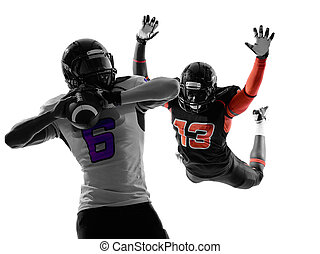 american football player quarterback sacked silhouette - two...
