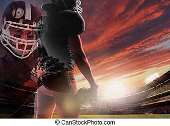 American football player ready to start game at the stadium