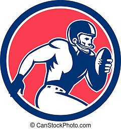 American Football Player Running Circle Retro