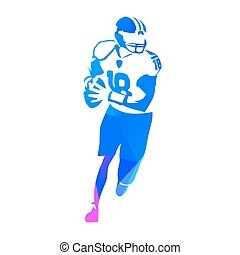 American football player running with ball, abstract blue polygonal vector silhouette