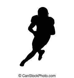 American football player running with ball. Quarterback vector silhouette