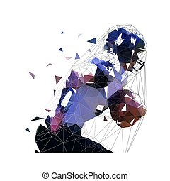 American football player running witn ball, low polygonal athlete, isolated vector illustration, side view