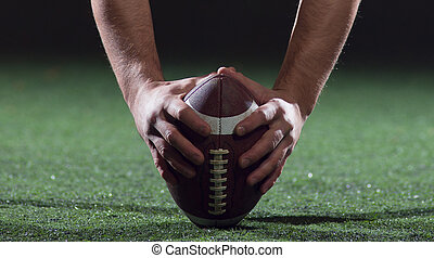 American football player starting football game