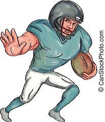 American Football Player Stiff Arm  Caricature
