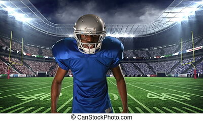American football player taunting